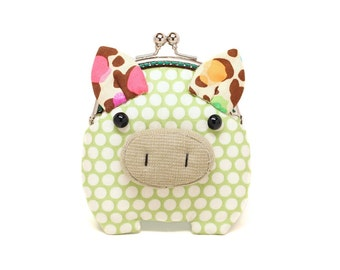 Little caper green piggy clutch purse