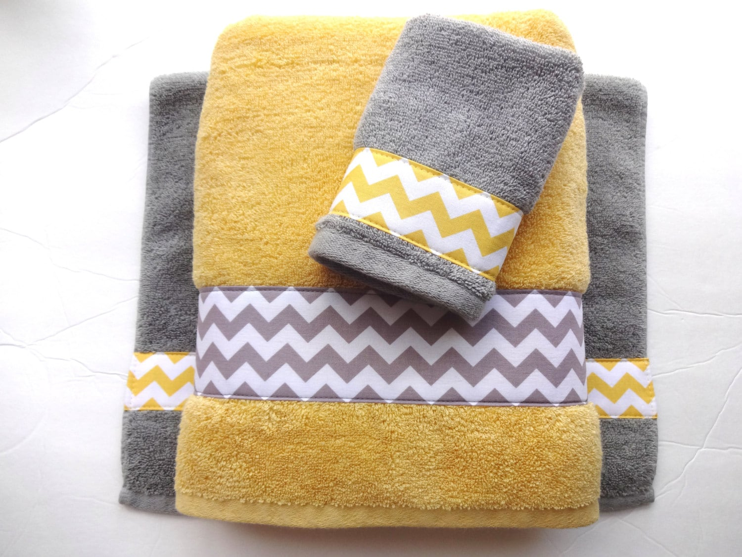 Pick Your Size Towel yellow and grey towels gray and yellow.