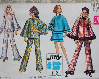 Vintage 1969 Pattern Simplicity 8533 Poncho Mini Skirt Bell Bottom Pants Size Miss 10 Bust 32 Uncut Pattern