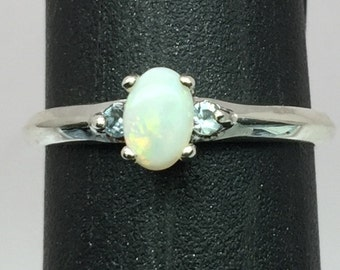 Natural Australian Opal & Aquamarine Silver Ring, FREE SIZING