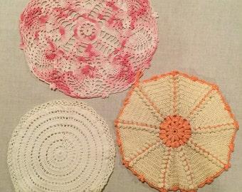 Vintage crochet doilies