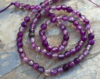 Purple Agate Beads, Round Agate Beads, Faceted Agate Beads, 4mm, 14 inch strand