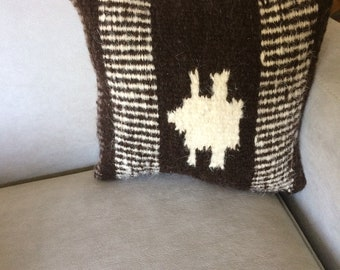 Brown Geometric Square Throw Pillow, Handwoven, Hand Dyed Wool