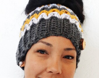 Messy Bun Beanie, Crochet Messy Bun Beanie, Top Knot Beanie, Bun Hat, Crochet Bun Hat, Ponytail Beanie, Ponytail Hat, Messy Bun hat, HONEY