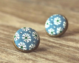 Stud Earrings - Japanese Flowers In Blue - White Daisies Fabric Buttons Natural Jewelry - Country Earring Posts