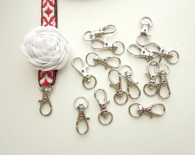 6 Lobster key fobs - Small silver lobster clasps for bag charms, keyrings, keyfobs, badge holders, camera straps, luggage tags, lanyards