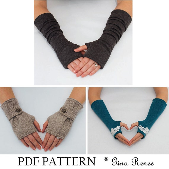 3 Fingerless Gloves Patterns. PDF Glove Sewing Patterns
