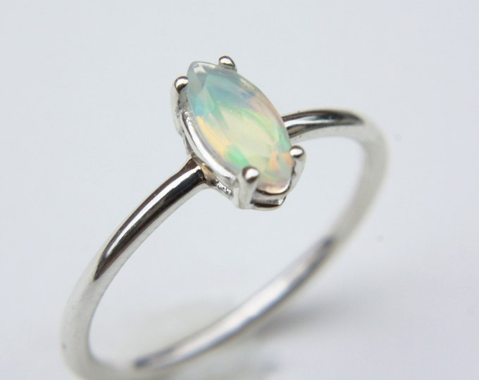 Dainty Faceted Ethiopian Opal Ring - sterling silver opal ring - faceted welo opal ring - opal engagement ring - october birthstone ring