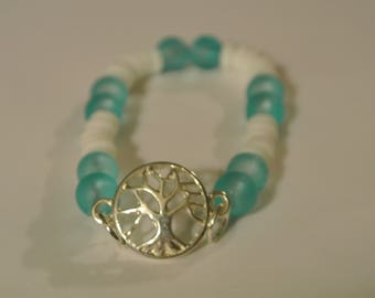 Light Blue and White Beaded Stretch Bracelet with Silver Tree
