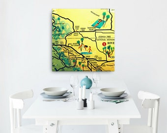 CALIFORNIA Map Art, PALM SPRINGS map, Canvas Art, Palm Springs Art mid century art, mid century modern Palm Springs Decor, Palm Springs home