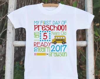 First Day of School Shirt - Boys 1st Day of Preschool Shirt - Kids Back to School Stat Shirt - Boys My First Day of School T-shirt