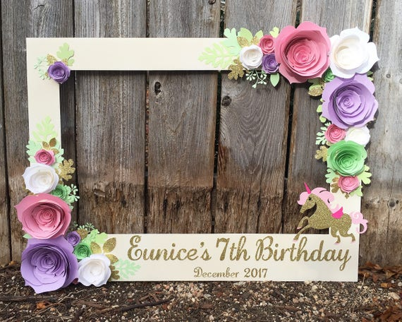 Unicorn Floral Frame Photo Booth Prop With 3d Flowers