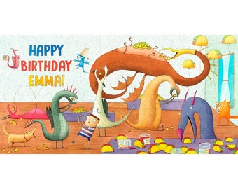 Digital Dragons Love Tacos Birthday Backdrop, Printable Party Banner 34'x17', Party Decoration, JPG Poster