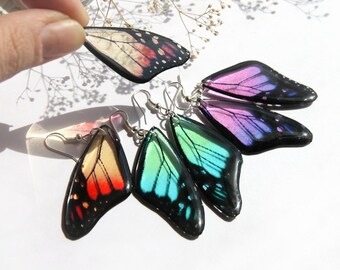 Butterfly earrings transparent resin jewelry butterfly wings earrings Eco friendly jewelry summer earrings red girlfriend gift for daughter