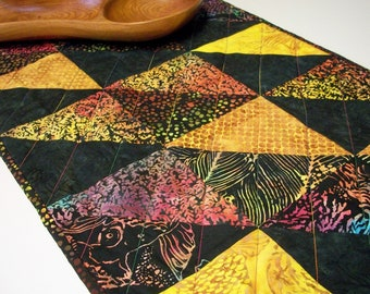 Batik Table Runner Island Batiks Quilted Triangles Ocean Coral Theme Quiltsy Handmade FREE U.S. Shipping