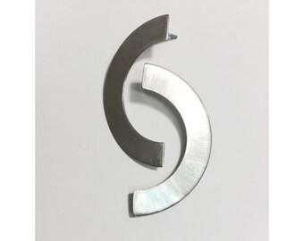 Sterling Silver Half Circle Earrings - Modern Minimal Design -  post stud earrings - handcrafted