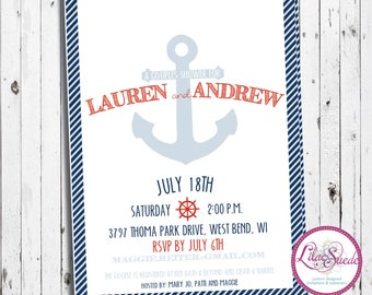 Shipping seas - nautical clean and simple summertime - bridal shower invitation - DIY - PRINT YOURSELF or purchase prints - any color
