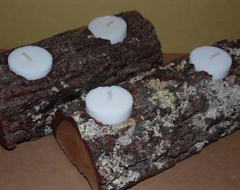 Log candle holder/ Log centerpiece/ Rustic centerpiece/ Rustic home decor/ Log decor