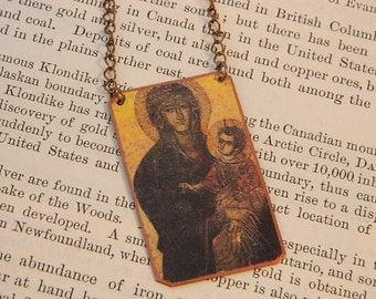Madonna jewelry Madonna and the Christ child necklace mixed media jewelry