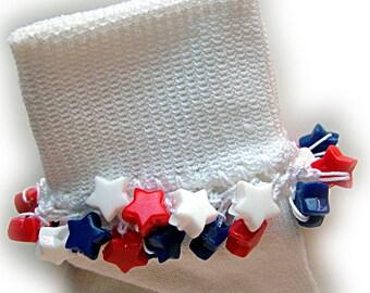 Kathy's Beaded Socks - Patriotic Stars socks, girls socks, beaded socks, red white and blue socks, star socks, patriotic socks, holiday sock