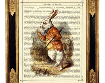 Alice in Wonderland The White Rabbit Clock color Easter Bunny - Vintage Victorian Book Page Art Print Steampunk