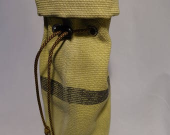 Wine bags made from Seattle Fire Dept surplus fire hose, great for craft beer 22 0z. bottles as well