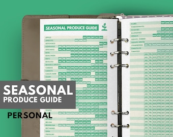 Seasonal Produce Guide for Healthy eating,Meal Planner filofax personal size, Clean Eating Diet, Personal filofax, Clean Eating meal planner