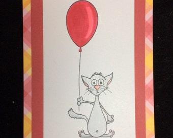 Cat With Balloon Birthday Card