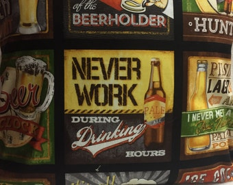 Never Work During Drinking Hours, Pillow 14 x 14 (#003)