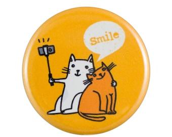 """Cat Selfie 1.25"""" Button Pin"""