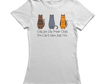 Cats Are Like Potato Chips Women's White T-shirt
