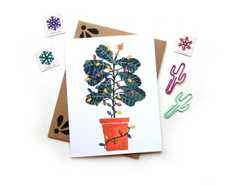 Fiddle Leaf Fig Charlie Brown Christmas Tree | Holiday Watercolor Vintage Christmas Lights Illustrated Card