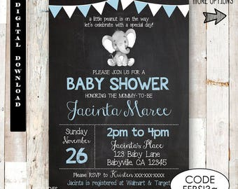 elephant baby shower invitation boy chalkboard baby shower invitations safari baby shower invitation blue elephant invitation boy baby