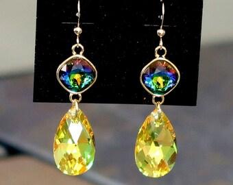 Rainbow and Light Topaz/Gold Swarovski Crystal Earrings