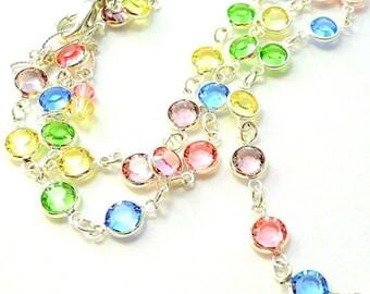 Swarovski crystal necklace, pastel crystal channel link necklace, Swarovski pastel colors, sparkly bling gift for her