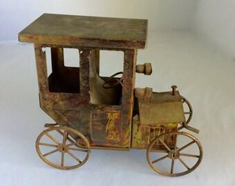 """Miniature car, copper auto, former music box, home decor item, vintage car, 4"""" x 8"""" x 8"""" automobile, old time auto, verdigris car sculpture"""