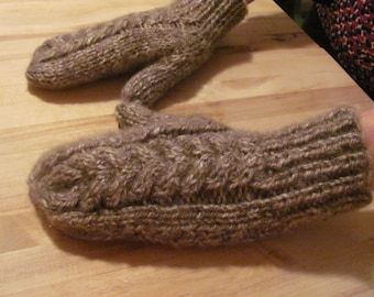 Hand Knit Cable Mittens