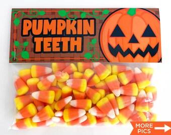 Printable Jack-O-Lantern Treat Bag Toppers, Kid's Halloween Party Favor, Halloween Pumpkin Teeth Treat Bag Toppers, Instant Download