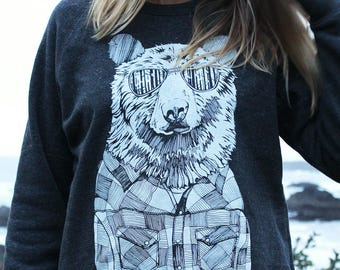 Bear in Shades Crewneck Sweater