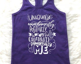 Uniquely Me Racerback Tank Top -- Summer Positivity Shirt - Kids, Girls Toddler, Baby, Blue, Black, White, Purple Summer One of a Kind