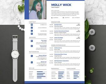 Moderne CV Instant Download 2 blz | CV-template + sollicitatiebrief | DIY afdrukbare | Professionele en creatieve CV Design