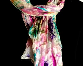 A beautiful lighter 100% silk scarf spring with unique handmade design