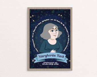 Poster Margherita Hack, donne nella scienza, astronomia regalo, astronomia, poster cameretta, poster scienza, regalo per scienziate