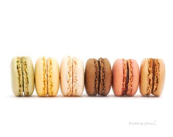Macaron Photography, French Food Kitchen Wall Art, Vanilla Cream Chocolate Brown Pink Yellow Green Baked Goods, Minimal France Bakery Decor