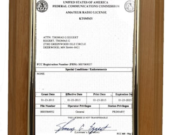 Ham Radio License Plaque with your call letters, FCC logo, your name & license type