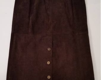 Authentic 90s Chanel Suede Leather Longline High Waist Skirt