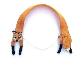Fox necklace - animal jewelry, wire necklace, fox jewelry