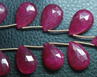 7 Inch Strand,Superb-Finest Quality AAA Quality Dyed Ruby Faceted Pear Shape Briolettes, 13-15mm size