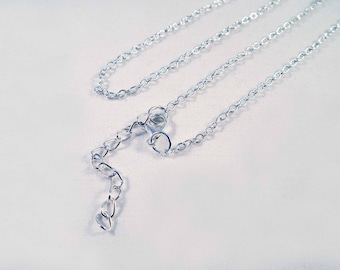SBC31 - Necklace with chain 52cm shiny silver with lobster clasp and extension chain