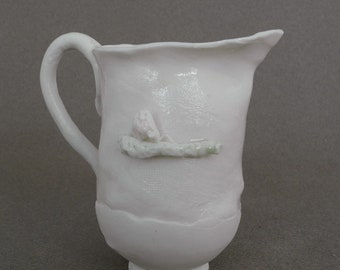 Small jug with an owl and a tiny mouse  in white porcelain - handmade ceramic whimsical pitcher